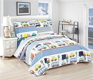 Boys Summer Quilts Car Bus Truck Coverlet Set Twin Size,3Pcs Kids Lightweight Bedspreads Reversible Cartoon Stripe Bedding Cover Pillow Shams