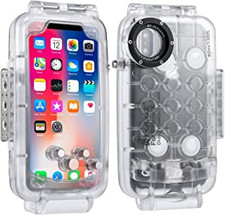 PULUZ PU9005 40m/130ft Waterproof Diving Surfing Housing Photo Video Taking Underwater Cover Case for iPhone X - Transparent