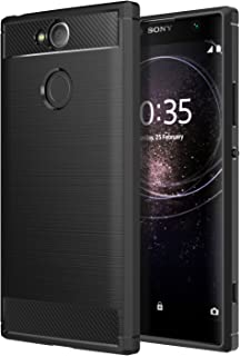 Sony Xperia XA2 Phone Case, MoKo Soft Lightweight TPU Bumper Cover Carbon Fiber Design Anti-Scratch Slim Back Panel Shock Aborsption Cellphone Shell for Sony Xperia XA2 5.2 Inch, Black