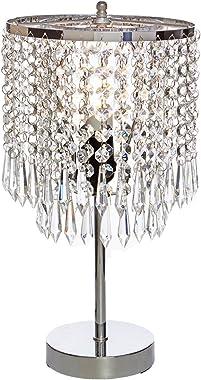 POPILION Elegant Decorative Chrome Living Room Bedside Crystal Table Lamp,Desk Lamp with Crystal Shade for Bedroom Living Roo