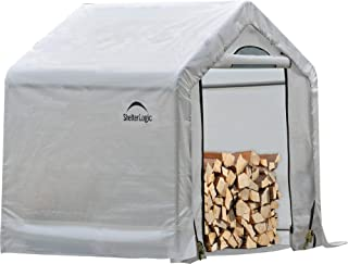 ShelterLogic 90395 Outdoor Covered Seasoning Firewood Storage Shed, 5 Feet X 3.5 Feet X 5 Feet