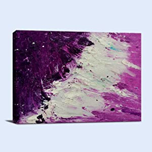 Wave Abstract Wall Art Modern Canvas Prints Sea Artwork Purple and White Ocean Beach Seascape Decor for Living Room Bedroom and Office Ready to Hang 12 x 16 inches 1 Panel