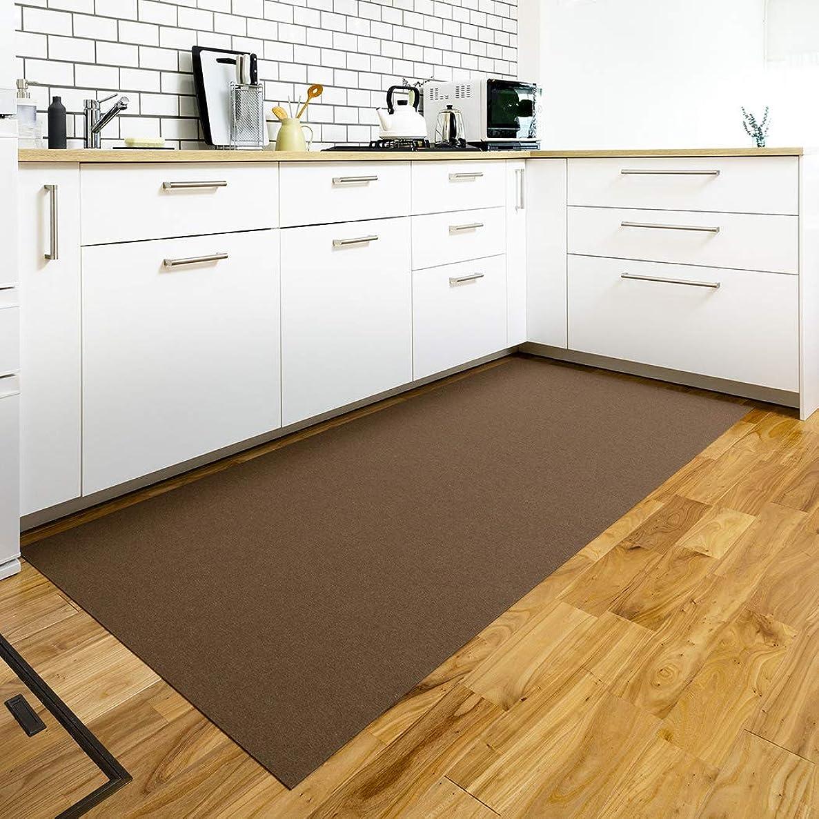 極めてオフェンスファイルNico (ニコ) ズレないキッチンマット 洗える はっ水 滑り止め おくだけ吸着 ブラウン 90×210cm KR-61