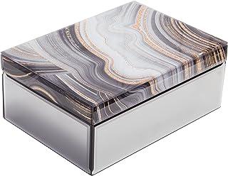 Large Glass Jewelry Box Decorative Box Keepsake box Marble decor Jewelry Organizer Glam decor Storage for Women Girls Luxu...
