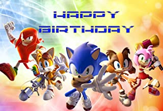 7x5ft Cartoon Sonic Photography Backdrop Kids Boy Baby Birthday Party Banner Supplies Cake Table Background Decoration Photobooth Props LF247