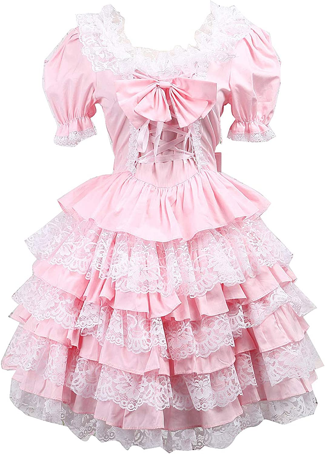 Antaina Pink Cotton Ruffle Lace Bow Puff Victorian Sweet Lolita Cosplay Dress