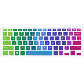 """Silicone Keyboard Cover Skin Compatible with 13.3"""" Dell Inspiron 13 5000 7000 Series 5368 i5378 7370 7373 7368 7378 & 15.6"""" Dell Inspiron 15 5568 5578 7568 7570 7573 (NO Numeric Keypad) (Rainbow)"""