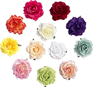 Large Rose Flower Hair Accessories Alligator Clips Bridal Rose Hair Flowers Clip and Pin Pack of 12 Wedding Decoration