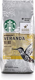 Starbucks Veranda Blend Light Blonde Roast Whole Bean Coffee, 12 Ounce (Pack of 6)
