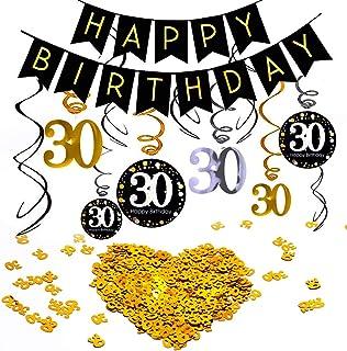 INTVN 30 cumpleaños Colgar Remolino decoración de Techo Adornos de espirales , & Número 30 Mesa Confeti Feliz cumpleaños Banner para 30 años Fiesta cumpleaños Decoraciones Mujer Hombre