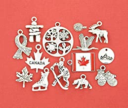 Canada Charm Collection Antique Silver Tone 14 Different Charms - COL026 Craft & Jewelry Supplies