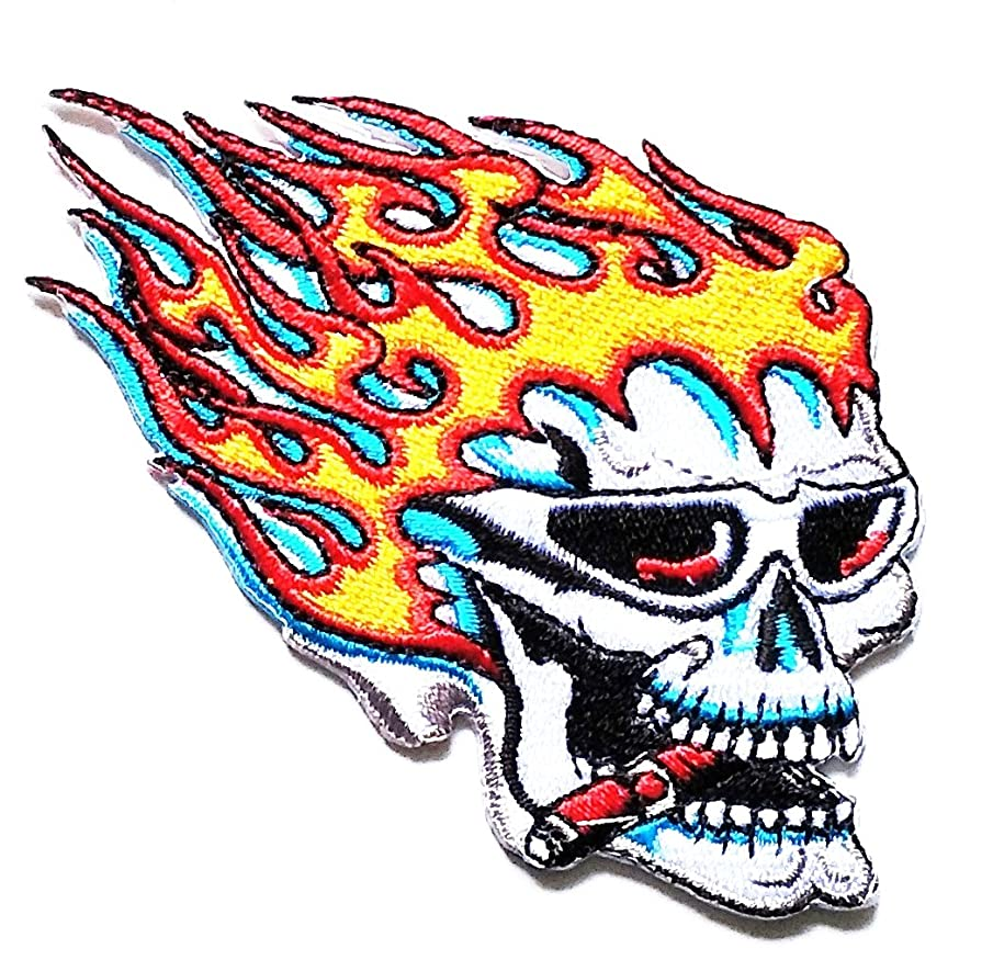 Nipitshop Patches Flaming Skull Patch Skull Ghost Patch Biker Motorcycle Rider Novelty Patch for Clothes Backpacks T-Shirt Jeans Skirt Vests Scarf Hat Bag