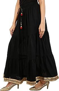 Generic Jingle Impex Women's Cotton Spider Lace Work Full Gair Long Skirt (JISKRT-540, Black, Free Size)