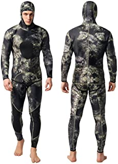Nataly Osmann Camo Spearfishing Wetsuits Men 3mm /1.5mm Neoprene 2-Pieces Hooded Super Stretch Diving Suit