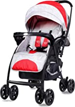 R for Rabbit Sugar Pop Stroller | Pram with Auto Fold for Newborn Baby | Kids of 0 to 3 Years (Red Grey)