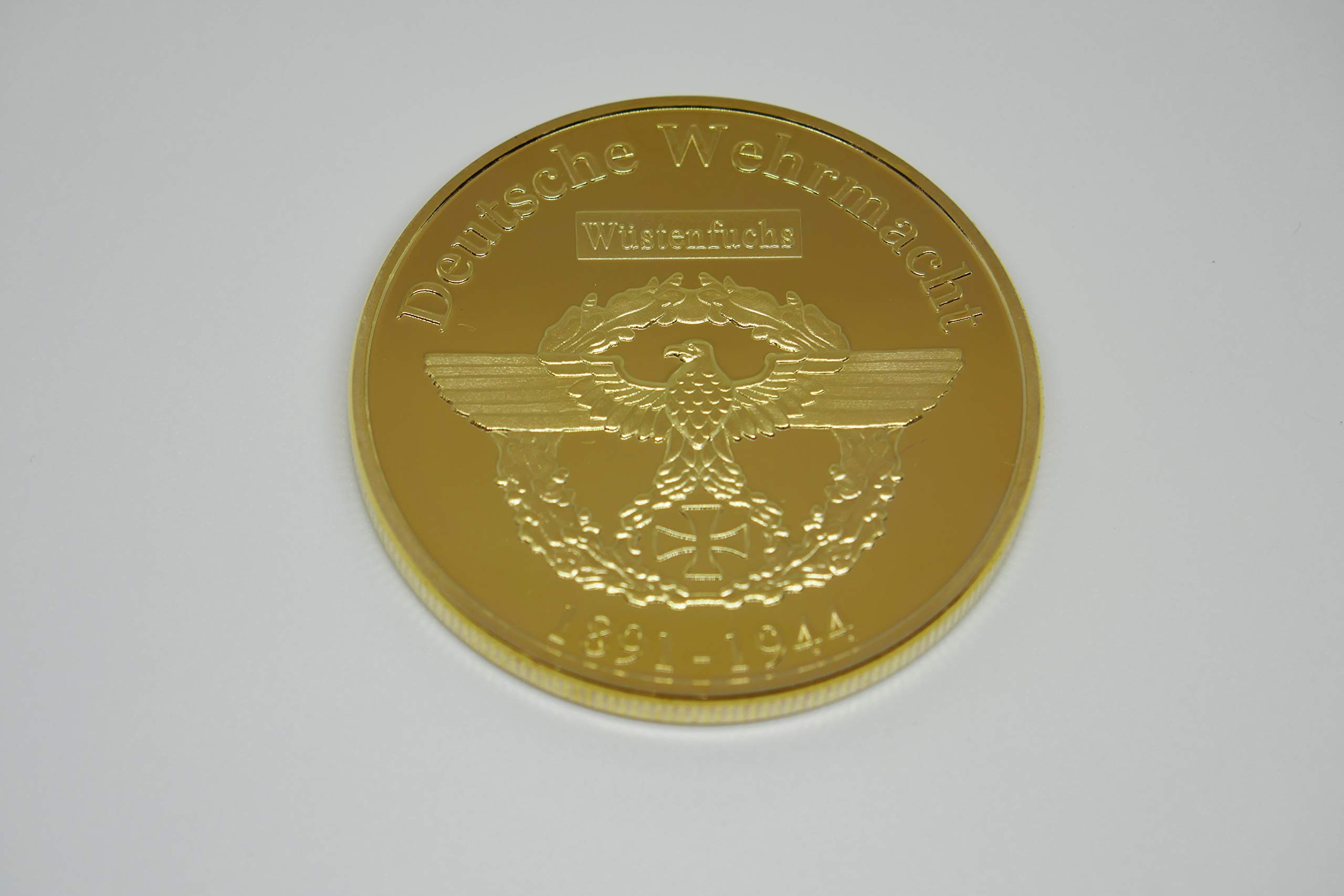 Donatio Commander Erwin Rommel Afrika Korps - Moneda Conmemorativa de Guerra chapada en Oro: Amazon.es: Hogar