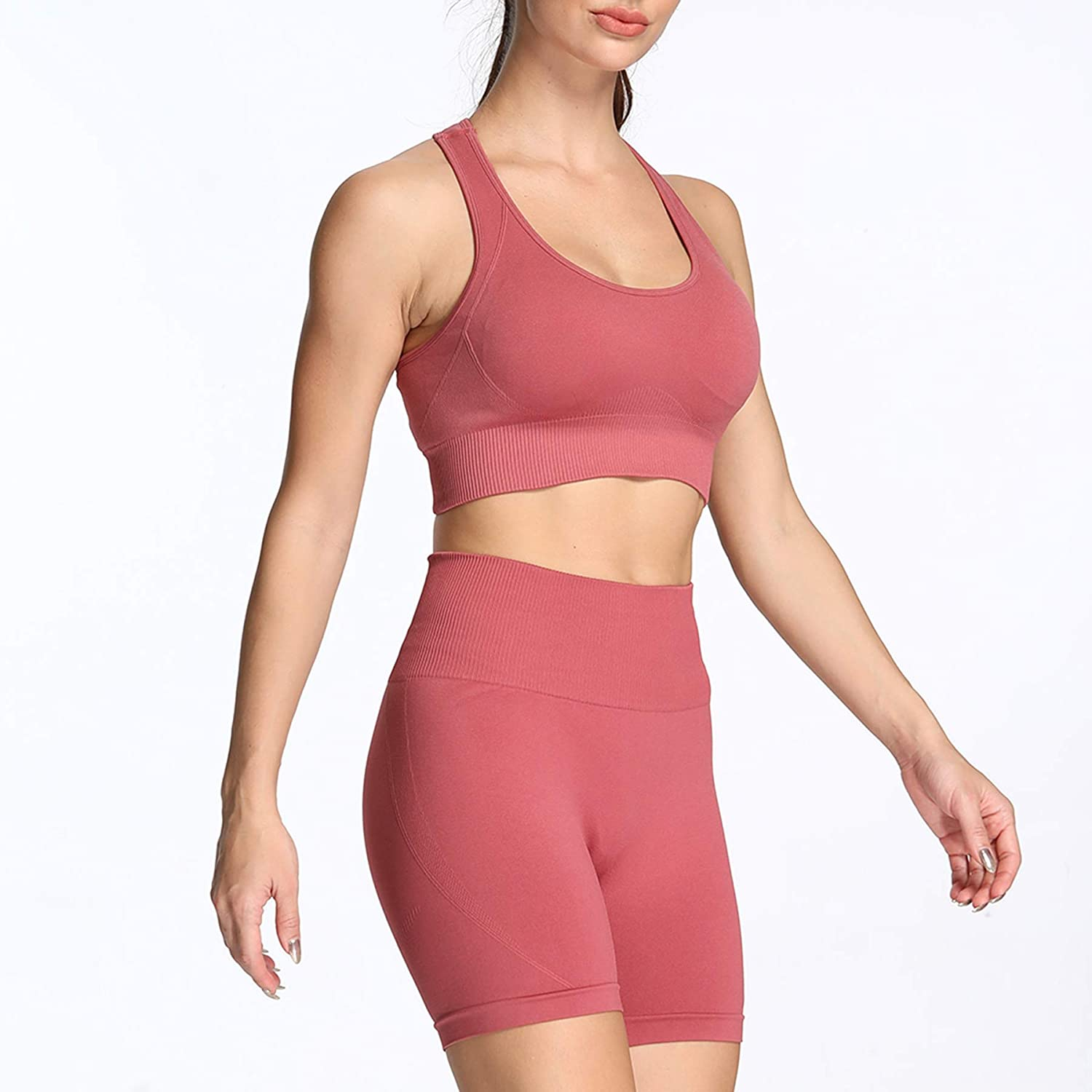 Aoxjox Exercise Outfits for Women 2 Pieces Hyperflex Lightweight Seamless Yoga Outfits Crop Tops and Leggings Set Tracksuits