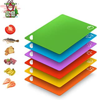 Extra Flexible Thick Plastic Kitchen Cutting Board Mats Set of 6 Colored Chopping Boards with Food Icons Dishwasher Safe