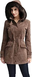 BGSD Women's Chloe Suede Leather Parka Coat (Regular and Plus Size and Short)