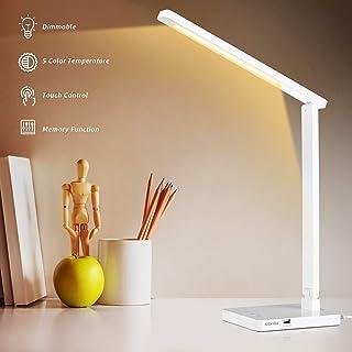 Albrillo Lampe de Bureau LED - Lampes de Bureau Dimmable avec 5 Modes de Couleur et 5 Niveaux de Luminosité, Lampes de Tab...