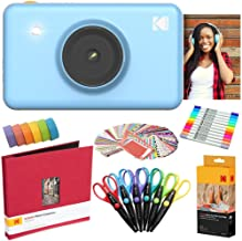 Kodak Mini Shot Instant Camera (Blue) Art Bundle + Paper (20 Sheets) + 8x8 Cloth Scrapbook + 12 Twin Tip Markers + 100 Border Stickers + 6 Decorative Scissors + Washi Tape