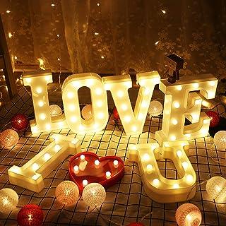Lumières LED Lumières, Accessoires Photo, Lumière De Nuit d'amour, Décoration De La Salle De Noël, 29 Pcs (26 Lettres + 2 ...