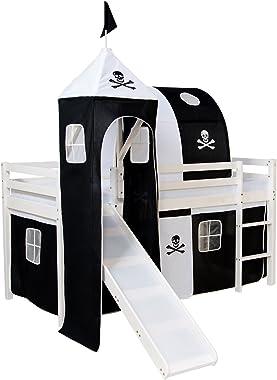 Homestyle4u 522, Kinder Hochbett Mit Rutsche, Leiter, Turm, Tunnel, Vorhang Pirat Schwarz, Massivholz Weiß, 90x200 cm