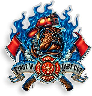 Collectible Firefighter Decals (4in,2pack), Share Your Support with Our Vinyl Firefighter First in Last Out Stickers for Y...
