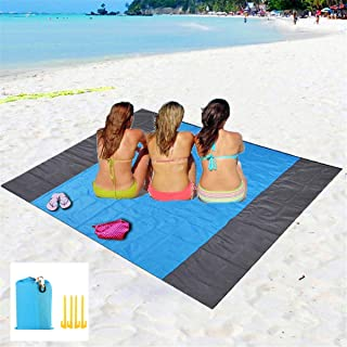 "Eastjing 82"" x 79"" Sand Free Beach Blanket Water Resistant & Sand Proof Beach Mat, Soft 70D Ripstop Nylon Pocket Picnic Blanket with 4 Stakes for Travel, Camping, Hiking and Music Festivals"
