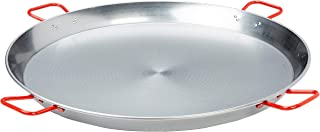 La Ideal 071052 Polished Steel Paella Pan, 35 1/2-Inch, Gray/Red