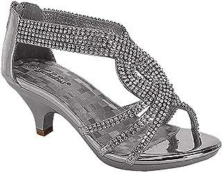 Fabulous Angel-37K Kids Little Girls Bling Rhinestone Platform Dress Heels Sandals