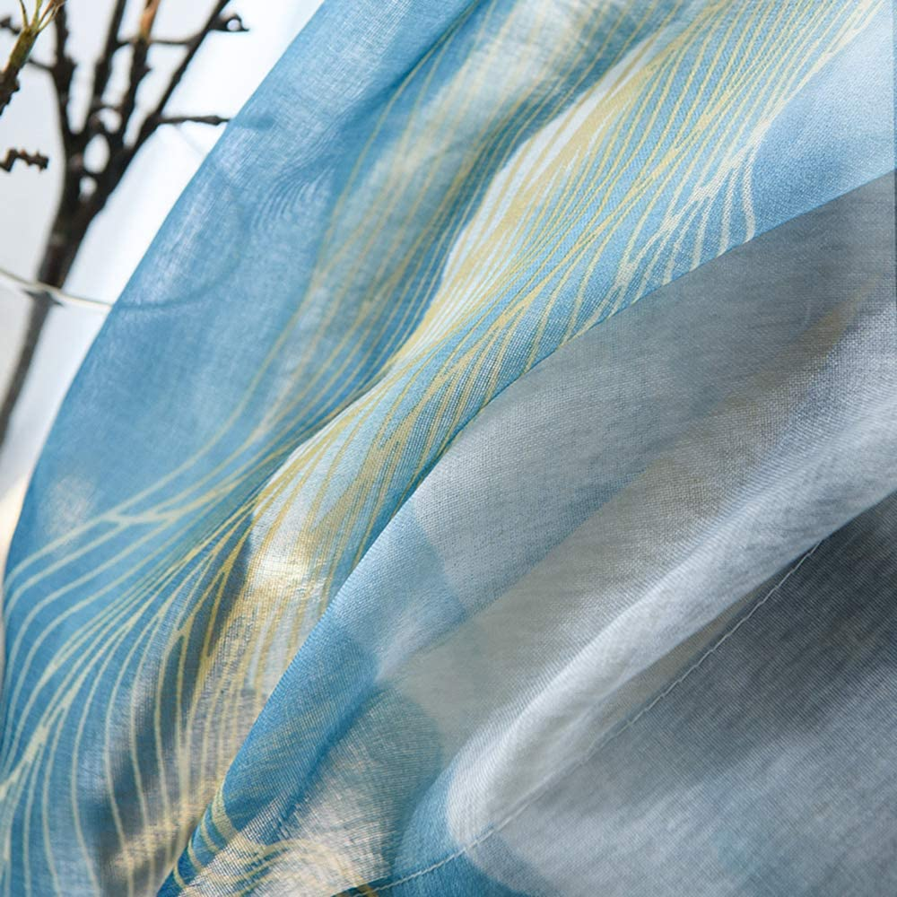 KMSG Mediterranean Blue 5 ☆ very popular Ombre Curtain Printed High quality new Sheer Transparent