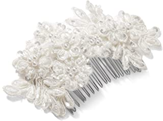 Mariell Handmade Ivory Lace Beaded Wedding Bridal Comb Headpiece with Pearls