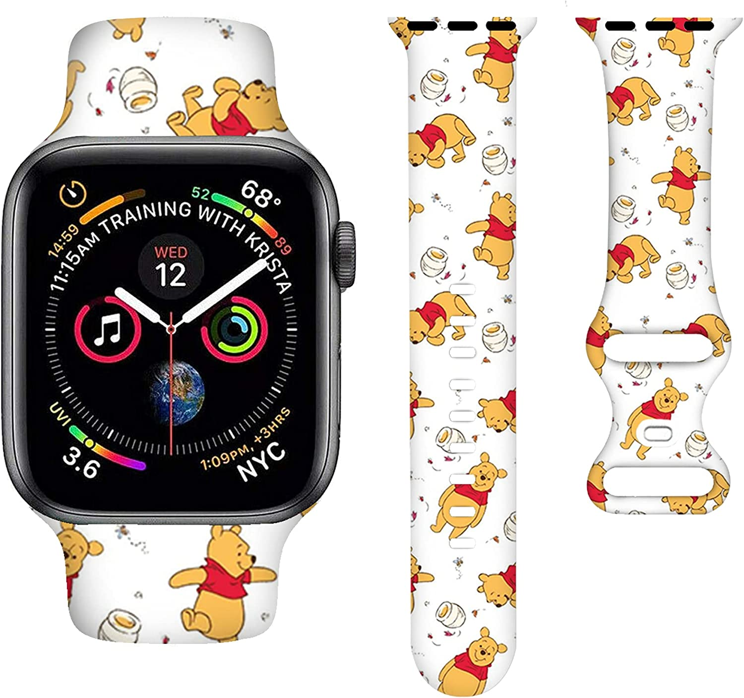 Anime Watch Bands Cartoons Smart Watch band Compatible iWatch Soft Silicone Replacement Wristband Bands Universal All black white 38mm /40mm for Women