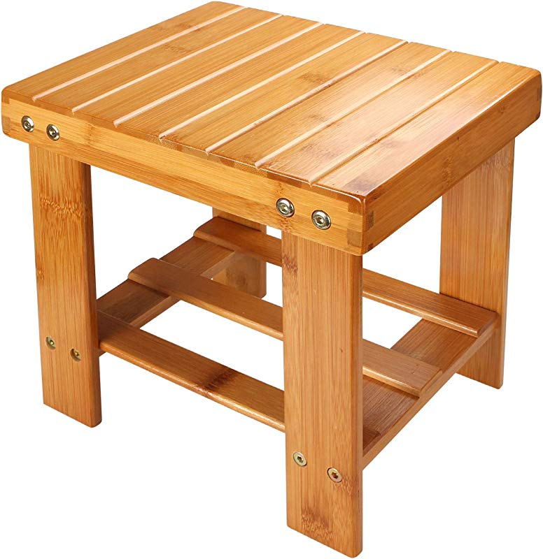 STARVAST Small Bamboo Step Stool For Kids 10 Inch High Multi Functional Wooden Stool Seat Foot Rest Ideal For Entryway Foyer Hallway Garden