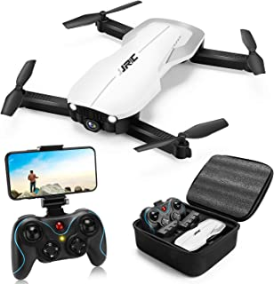 Drones with 1080P Camera for Adults,JJRC H71 RC Foldable Drone with 2 Batteries,Optical Flow Positioning Drone with Case for Beginners-22mins Flight Time(White)