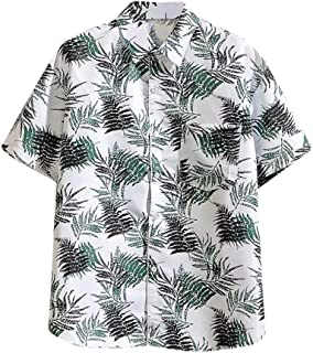 SPE969 Men's Print Comfort Button Down Shirt, 2 Colors Hawaiian Short Sleeve Casual Lapel Shirt