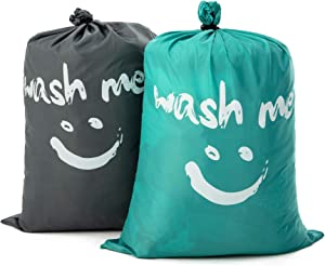 ZAIQUN Pack Travel Laundry Bag Set Polyester Rip-Stop Dirty Clothes Bag Machine Washable with Drawstring Closure Hamper Liner Heavy Duty College Essentials