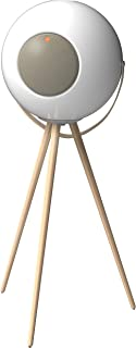 Ivation EUPHO E3 Bluetooth Spherical Wireless Indoor/Outdoor Speaker (White) with Solid Removable Wooden Legs