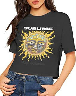 JohnHA Sublime 40oz to Freedom Sexy Exposed Navel Female T-Shirt Bare Midriff Crop Top Tshirts Black