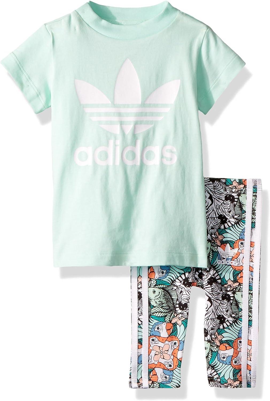 Felicidades serie fácilmente  Amazon.com: adidas Originals Baby Girls' Infant Zooanimal Print Tee Set:  Clothing