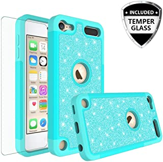 New iPod Touch Case,iPod Touch 6th Case,iPod 5th Generation Case [Tempered Glass] Shockproof Glitter Bling Hybrid Silicone Protective Case Compatible for Apple iPod Touch 5 6th Generation - Teal