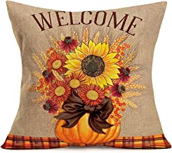 Xihomeli Autumn Harvest Pillow Covers Fall Sunflower Wheat Pumpkin Decorative Checks Bowknot Cushion Cover Cotton Linen Welcome Quote Home Pillow Case for Festival Gift 18 x 18 (Welcome Plaid)