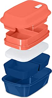 Fresh Box Premium Bento Lunch Box - Leakproof, BPA-free, Multi-Compartment, Detachable Microwave Vent, Convertible Food Container with Re-freezable and Removable Ice Pack (Orange/Blue, 1)