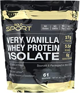 California Gold Nutrition Very Vanilla Flavor Whey Protein Isolate, 5 lbs (2270 g)