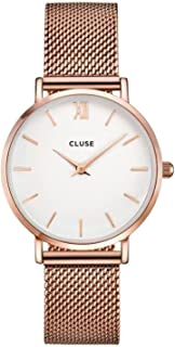 CLUSE Minuit Mesh Rose Gold White CL30013 Women's Watch 33mm Stainless Steel Strap Minimalistic Design Casual Dress Japanese Quartz Elegant Timepiece