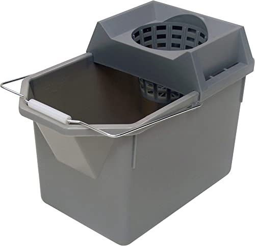 Rubbermaid Commercial 15 Qt. Lightweight Pail and Mop Strainer Combo, Gray (FG619400STL)