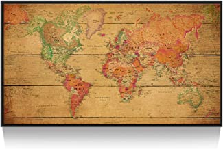 Kreative Arts - Large Size World Map Wall Art Black Floater Frame Art Print Picture Wall Decor Home Interior Map Picture Framed for Office Wall Decor Clearly Visible Words 55x32inch