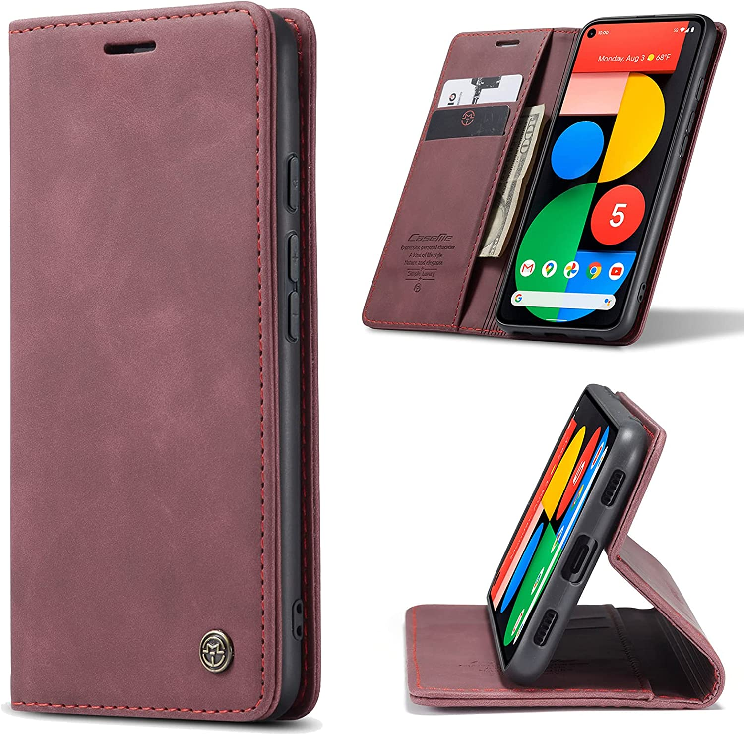 Kowauri Case for Google Pixel 5A 5G,Magnetic Closure Leather Wallet Flip Case with Card Slot Kickstand Shockproof Protective Cover for Google Pixel 5A 5G (Wine red)