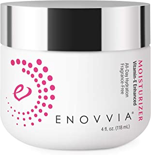Enovvia Natural Face Moisturizer, Anti Aging, Hydrating Formula, Anti Wrinkle, with Vitamin-E and Squalane, Unscented, Non Toxic, Dry or Combination Skin, Large 4 oz. Size